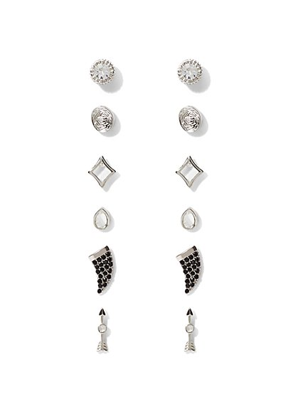 6-Piece Silvertone Post Earring Set  - New York & Company