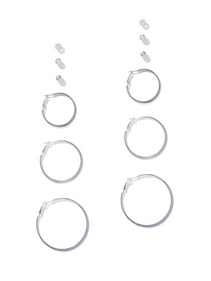 6-Piece Silvertone Post & Hoop Earring Set - New York & Company