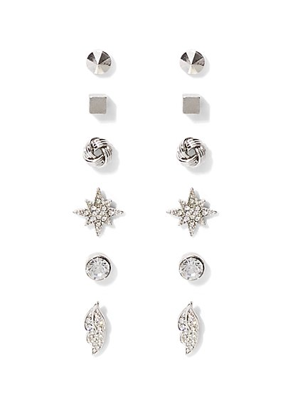 6-Piece Sparkling Post Earring Set  - New York & Company
