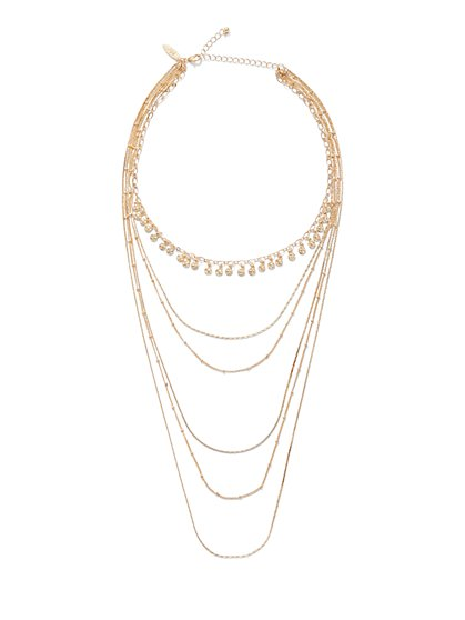 6-Row Sparkling Layered Necklace - New York & Company