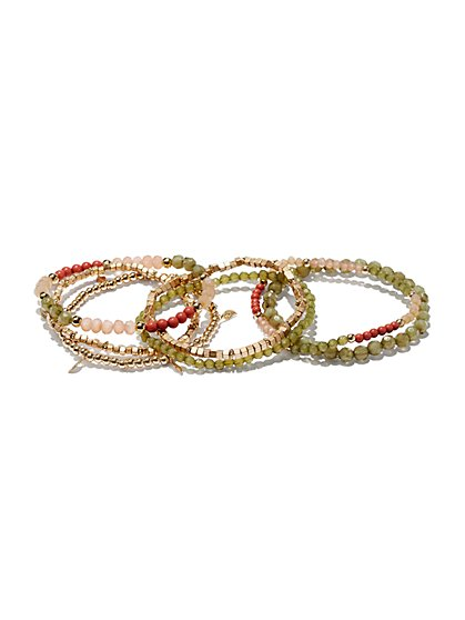 7-Piece Beaded Stretch Bracelet Set  - New York & Company