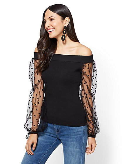 7h Avenue - Lace-Sleeve Off-The-Shoulder Sweater - New York & Company