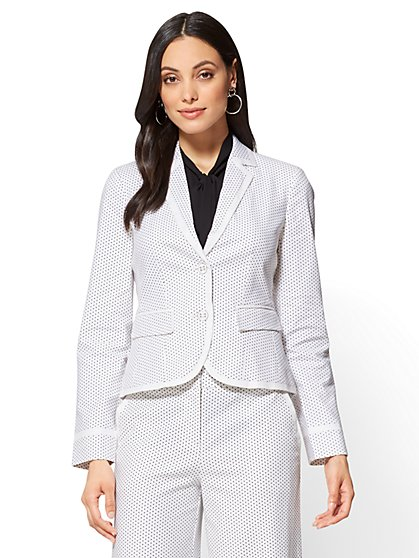 7th Avenue - 2-Button Jacket - Polka-Dot Print - New York & Company