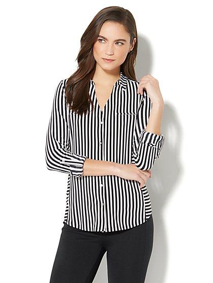 7th Avenue - 3/4-Sleeve Knit Shirt - Black & White Stripe - New York & Company