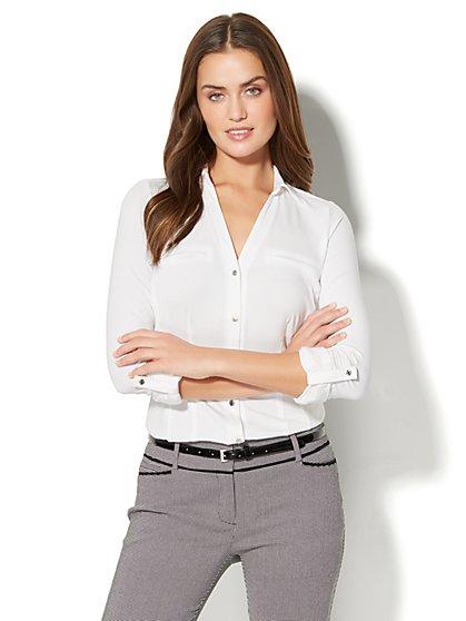 7th Avenue - 3/4-Sleeve Knit Shirt - White - New York & Company