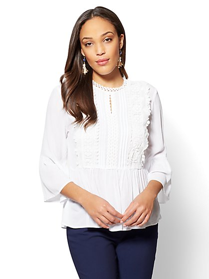 7th Avenue Appliqued Peplum Blouse - White - New York & Company