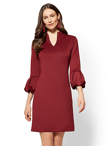 7th Avenue - Balloon-Sleeve Shift Dress - New York & Company