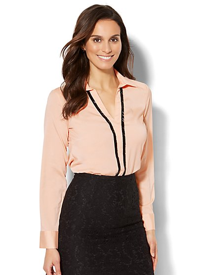 7th Avenue - Beaded Popover Blouse - New York & Company