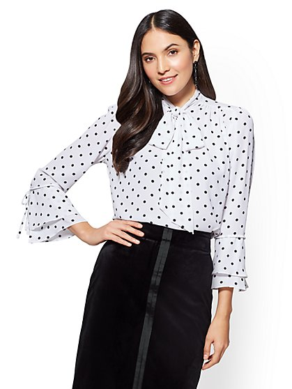 7th Avenue - Bell Sleeve Bow Blouse - Polka Dot - New York & Company