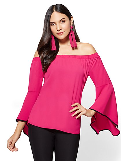 7th Avenue - Bell-Sleeve Off-The-Shoulder Blouse - New York & Company