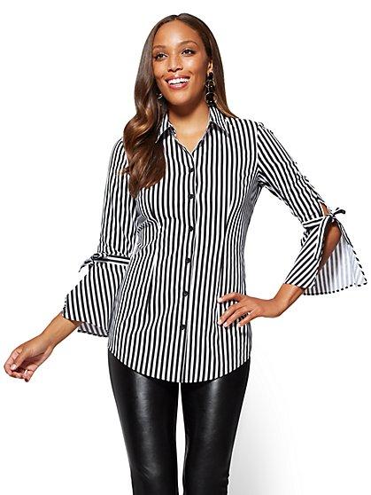 7th Avenue - Bell-Sleeve Poplin Shirt - Stripe - New York & Company