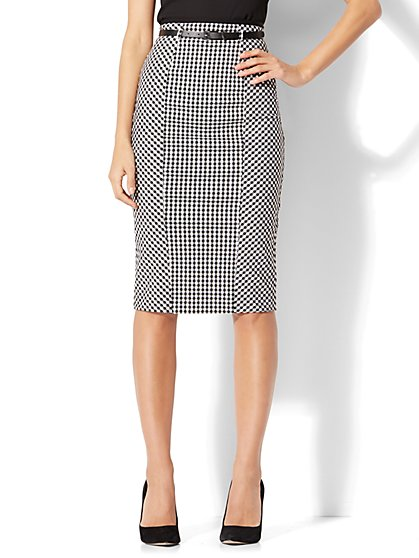 7th Avenue - Belted Pencil Skirt - Gingham - New York & Company