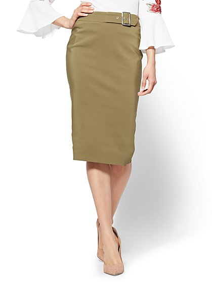 7th Avenue - Belted Pencil Skirt - Olive - New York & Company