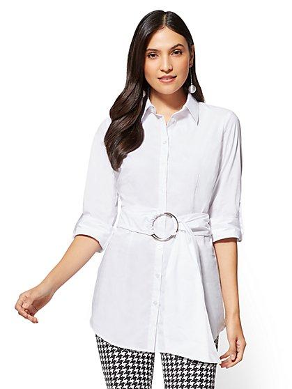 7th Avenue - Belted Poplin Shirt - New York & Company