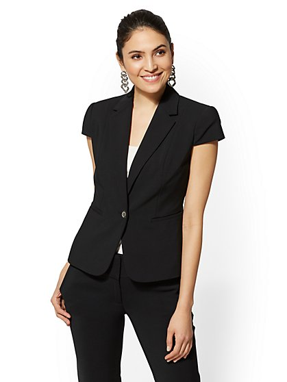 7th Avenue - Black Ruffled One-Button Jacket - New York & Company