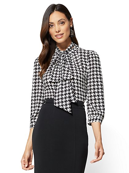 7th Avenue - Bow-Accent Mock-Neck Blouse - Houndstooth  - New York & Company