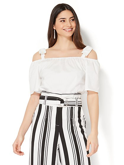 7th Avenue - Bow-Accent Off-The-Shoulder Shirt - White - New York & Company