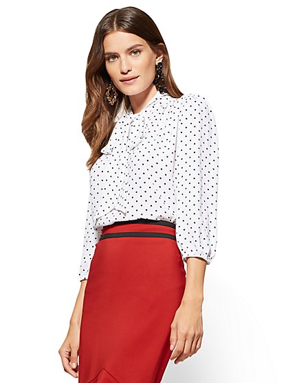 7th Avenue - Bow Blouse - Ivory - Dot Print  - New York & Company