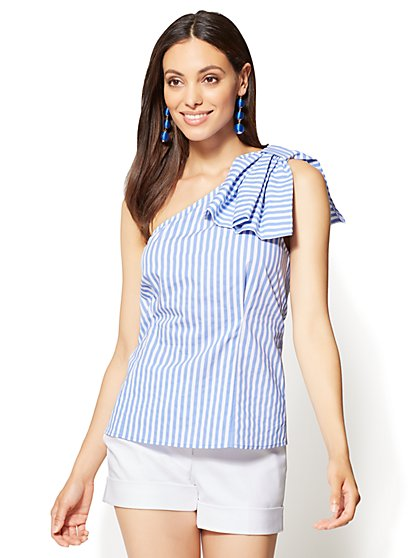 7th Avenue - Bow-Detail One-Shoulder Poplin Shirt - Stripe - New York & Company