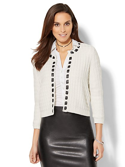 7th Avenue - Braided Faux-Leather Lurex Cardigan - New York & Company