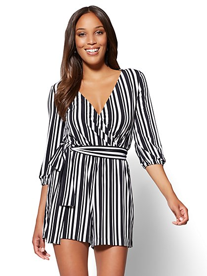 7th Avenue Bubble-Sleeve Romper - Black & White Stripe - New York & Company