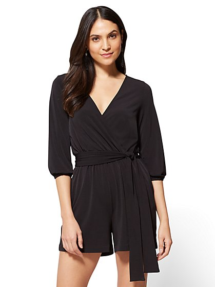 7th Avenue Bubble-Sleeve Romper - Black - New York & Company