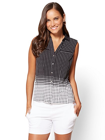 7th Avenue - Button-Front Shell - Black - Dot Print - New York & Company