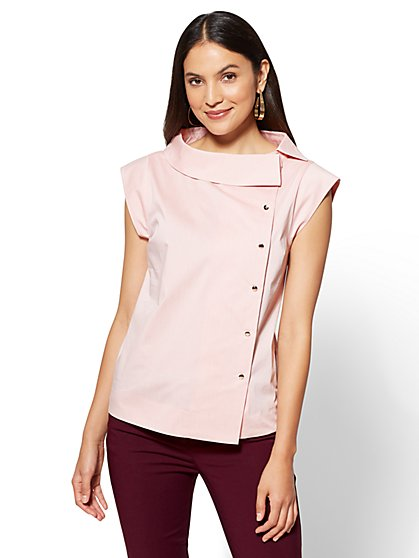 7th Avenue - Cap-Sleeve Poplin Shirt - Pink - New York & Company