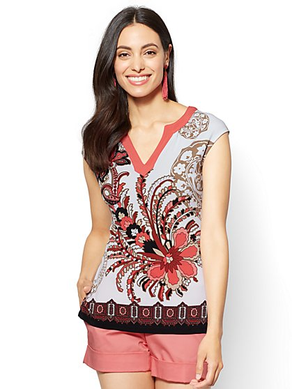 7th Avenue - Cap-Sleeve V-Neck Top - New York & Company