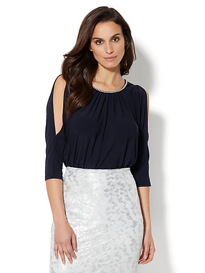 7th Avenue - Chain-Link Trim Cold-Shoulder Blouse - New York & Company