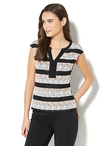 7th Avenue - Chain-Link Trim Lace-Overlay Top - Black - New York & Company