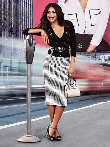 7th Avenue - Chelsea Cardigan - Elbow Sleeve - Cherry Print - New York & Company