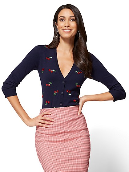 7th Avenue Chelsea Cardigan - Elbow Sleeve - Cherry Print - New York & Company