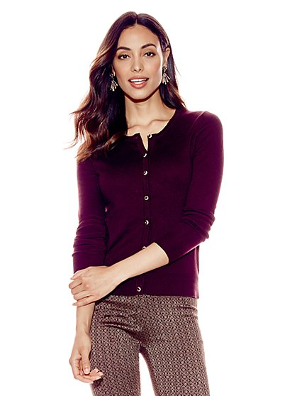 7th Avenue - Chelsea Crewneck Cardigan - Jeweled Buttons - New York & Company