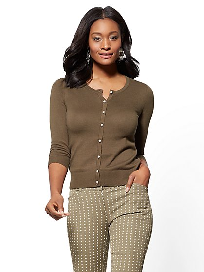 7th Avenue - Chelsea Crewneck Cardigan - Textured Buttons - New York & Company