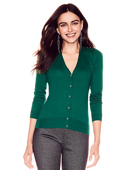 7th Avenue - Chelsea V-Neck Cardigan - Jeweled Buttons - New York & Company