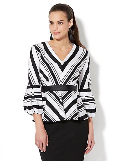 7th Avenue - Chevron-Stripe Peplum Shirt - New York & Company