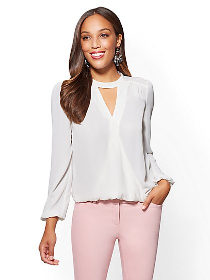 7th Avenue - Choker Wrap Blouse - White - New York & Company