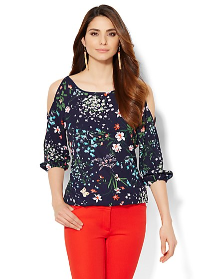 7th Avenue - Cold-Shoulder Blouse - Floral  - New York & Company