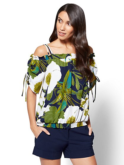 7th Avenue Cold-Shoulder Blouse - Floral - New York & Company