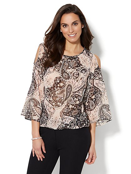 7th Avenue - Cold-Shoulder Blouse - Metallic Paisley Print - New York & Company