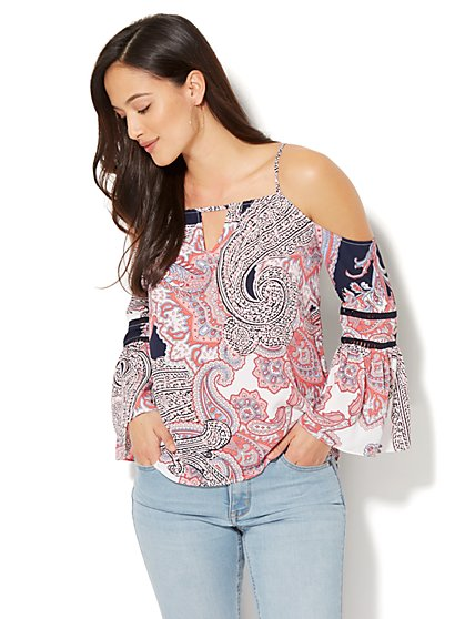 7th Avenue - Cold-Shoulder Blouse - Paisley Print - Tall - New York & Company