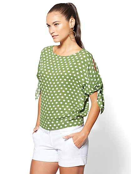 7th Avenue Cold-Shoulder Dolman Blouse - Dot Print - New York & Company