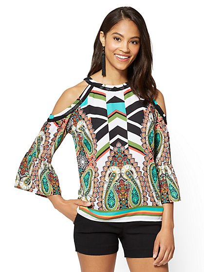 7th Avenue - Cold-Shoulder Halter Blouse - Mixed Print - Tall - New York & Company
