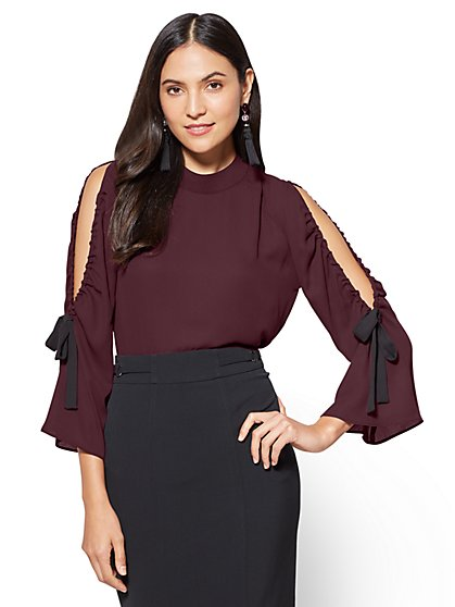 7th Avenue - Cold-Shoulder Mock-Neck Blouse  - New York & Company