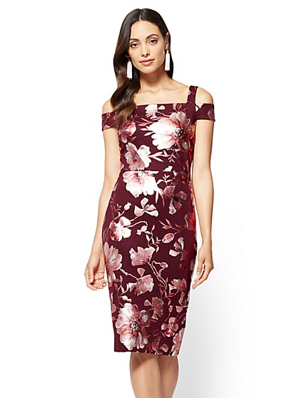 7th Avenue - Cold-Shoulder Sheath Dress - Burgundy - New York & Company