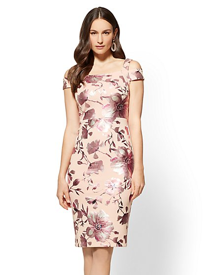 7th Avenue - Cold-Shoulder Sheath Dress - Floral - New York & Company