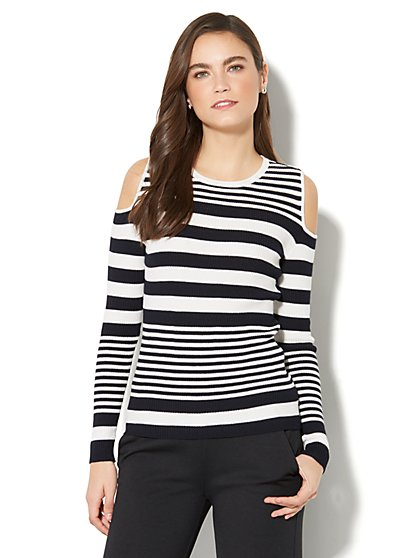 7th Avenue - Cold-Shoulder Striped Sweater - New York & Company