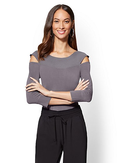 7th Avenue - Cold-Shoulder Sweater - New York & Company