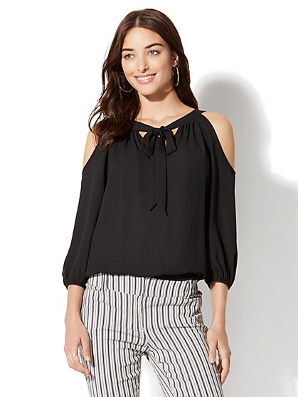 7th Avenue - Cold-Shoulder Tie-Front Blouse - New York & Company